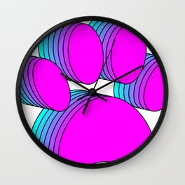 Pink And Blue Dog Paws Wall Clock