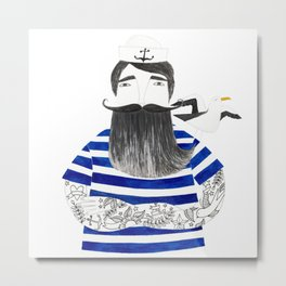 tattoo sailor in blue stripes and white background watercolor illustration Metal Print