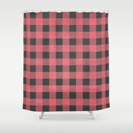 Coral Plaid Checkers Shower Curtain