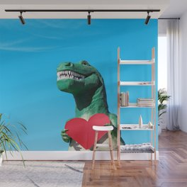Tiny Arms, Big Heart: Tyrannosaurus Rex with Red Heart Wall Mural