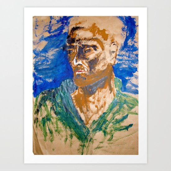 Man with blue background Art Print