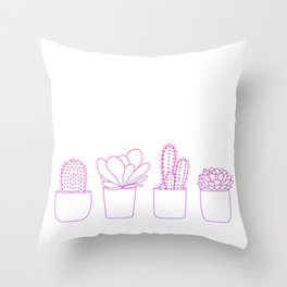 Succulents (Pink Gradient) Throw Pillow