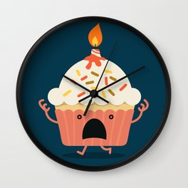 Cupcake on fire Wall Clock