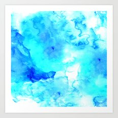 Modern blue sea hand painted watercolor Art Print