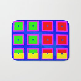 Digital Abstract with red squares on blue Bath Mat