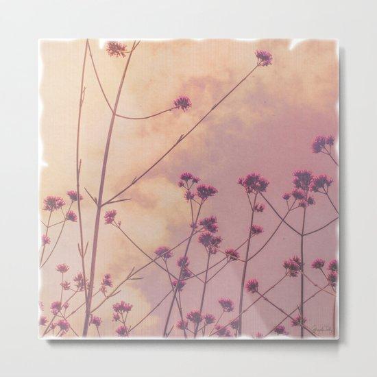 Vintage Pink Wildflowers with Dusty Purple Sky Background Metal Print