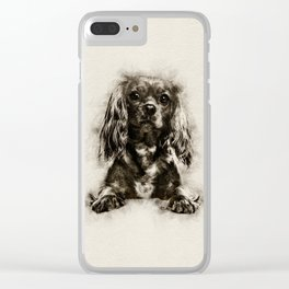 Cavalier King Charles Spaniel Puppy Sketch Clear iPhone Case