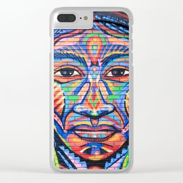Native American Woman Street Art Clear iPhone Case