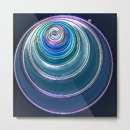 Purple Blue Circle Center Eye Art Metal Print
