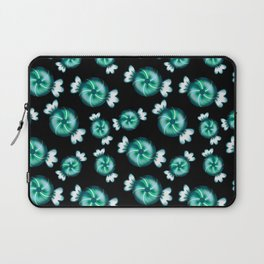 Cute lovely sweet decorative candy in green wrappers pattern on black background. Candy store. Laptop Sleeve