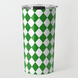 Diamonds (Forest Green/White) Travel Mug