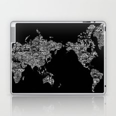 Passport Stamp Map Special Edition, Black and White Laptop & iPad Skin