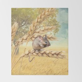 Little Field Mouse Throw Blanket