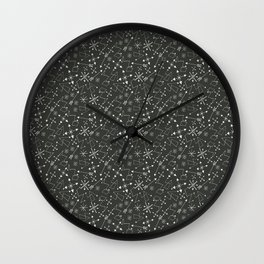 Out of Space, Planets, Stars Children's Pattern - Black Wall Clock