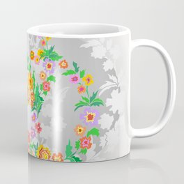 Wreaths from abstract flowers on floral background Coffee Mug