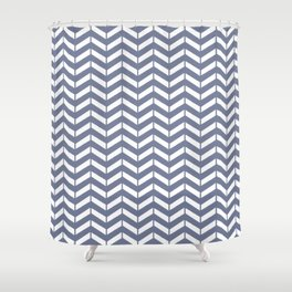 WEFT - periwinkle chevron Shower Curtain