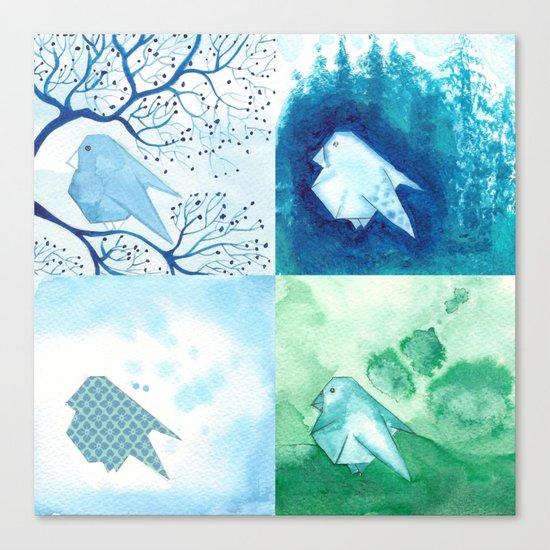 4 Birds Canvas Print