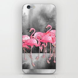 Flamingo Collage in Watercolor and Ink iPhone Skin