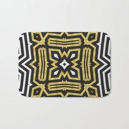 Aztec Gold Black Bold Pattern Bath Mat