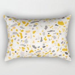 Terrazzo memphis vintage mustard yellow white grey black Rectangular Pillow