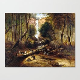 John Skinner Prout Bush landscape with waterfall and an Aborigine stalking native animals, New South Canvas Print