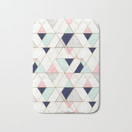 Mod Triangles - Navy Blush Mint Bath Mat