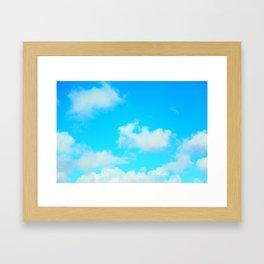 White Clouds Bright Blue Sky Framed Art Print
