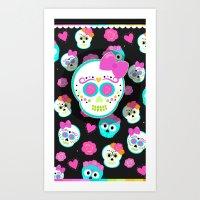 sugar skulls Art Prints featuring Sugar skulls by Eviedoll