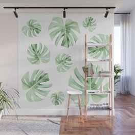 Tropical green leaves on white Wall Mural