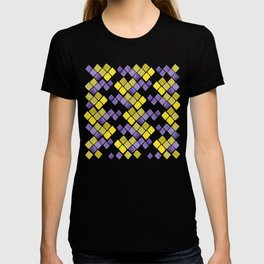Mozaic pattern in faux gold, yellow, purple and navy indigo T-shirt