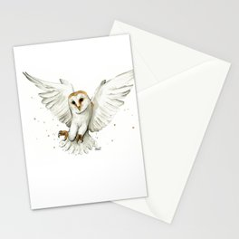 Barn Owl Flying Watercolor | Wildlife Animals Stationery Cards