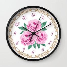 Pink peonies Wall Clock