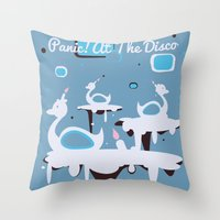 panic at the disco Throw Pillows featuring Panic! at the Disco - Candle Swans by Shana Marie