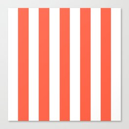 Tomato red - solid color - white vertical lines pattern Canvas Print