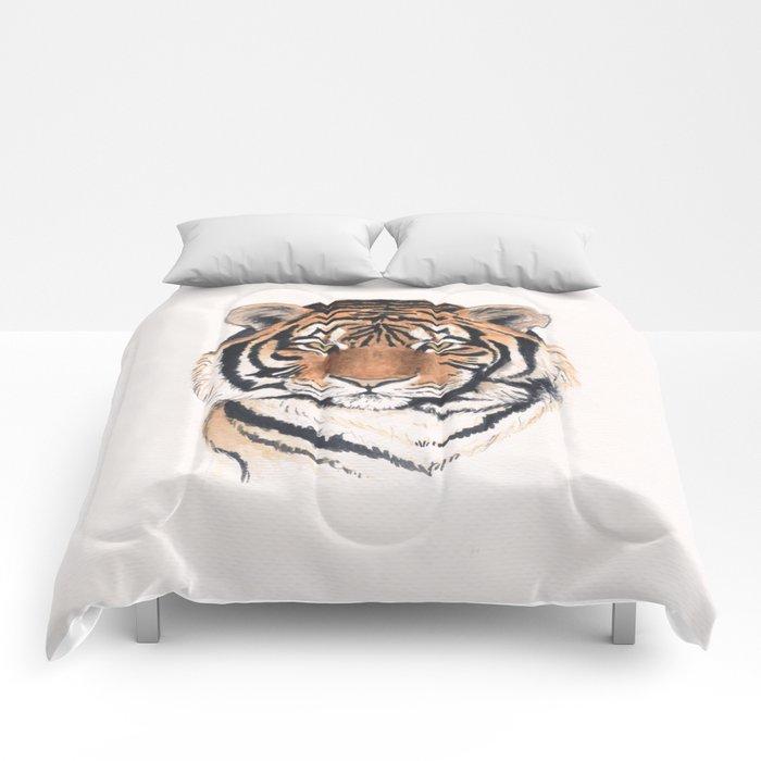 Tiger portrait watercolor Comforters