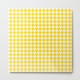 Gold Yellow Houndstooth Pattern Metal Print