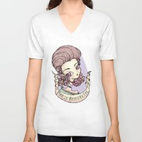 marie antoinette V-neck T-shirts featuring marie antoinette by Misha Mew