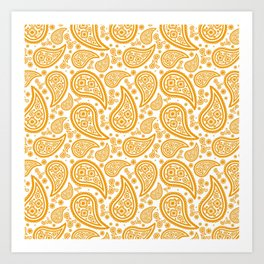Paisley (Orange & White Pattern) Art Print