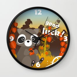 Lucky racoon Wall Clock