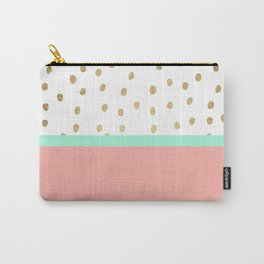 Coral teal color block faux gold foil polka dots pattern Carry-All Pouch