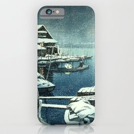 Kawase Hasui - Snow in Mukojima - Japanese Vintage Woodblock Painting iPhone Case