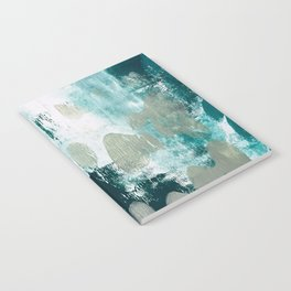 023.2: a vibrant abstract design in teal green and yellow by Alyssa Hamilton Art  Notebook