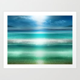 """Blue sky over teal sea South"" Art Print"