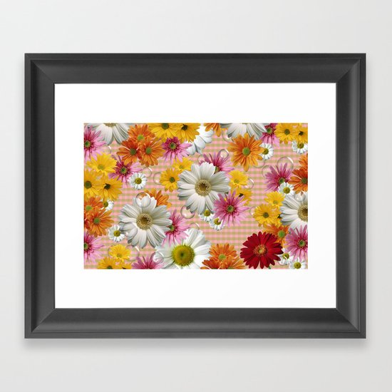 Retro Country Flowers Framed Art Print