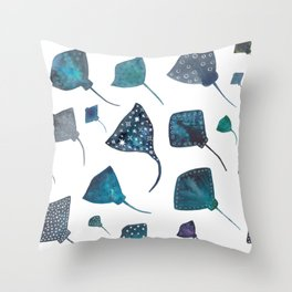 Stingray and Manta Ray Starry Ocean Pattern Throw Pillow