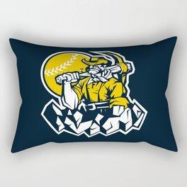 Miner prospector baseball mascot . Rectangular Pillow