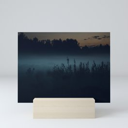 [35] Fog in the evening forest, nature, travel Mini Art Print