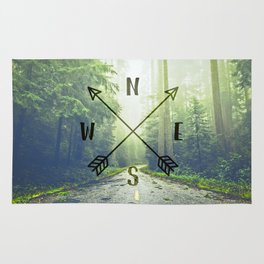 Compass in the Redwoods Rug