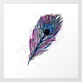 Watercolour Peacock Feather Art Print