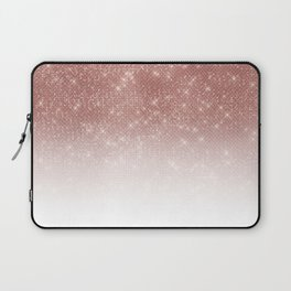Girly Faux Rose Gold Sequin Glitter White Ombre Laptop Sleeve